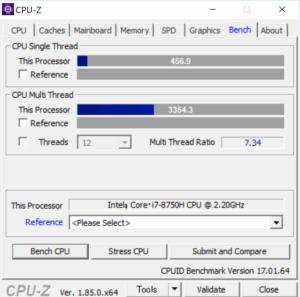 ng7510 CPUZ CPUベンチ