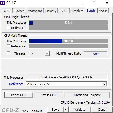 Intel Core i7-9700K CPUZ スコア
