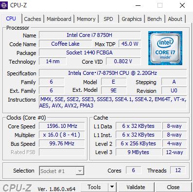 Dell G7 15 cpuz i7-8750h