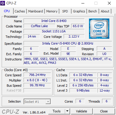 Legion c530 CPU Core i5-8400
