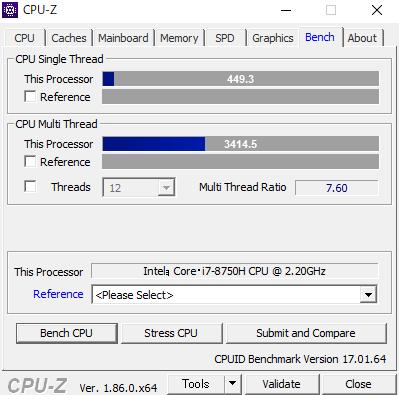 Dell G3 17 CPUZ ベンチ