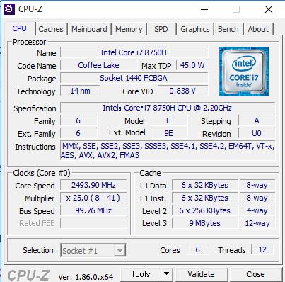 Dell G3 17 CPUZ
