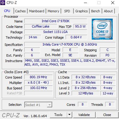 DAIV-DGZ530S4-M2SH2 cpuz Core i7-9700K RTX2060