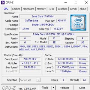 DAIV NG5520 cpuz Core i7-9750H