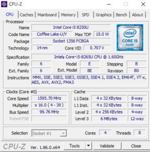 UX433NF-8265 CPUZ Core i-8265U