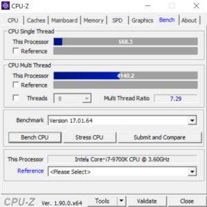ガレリア XF cpuz core i7-9700k