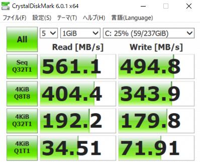 DAIV NG5300 Cドライブ SSD