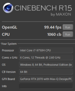 GALLERIA GCR2070RGF-QC-G Cinebench RTX2070MAX-Q