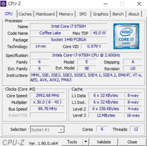 Lenovo Legion Y540(17) CPUZ Core i9-9750H