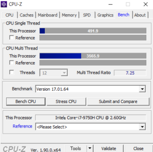 Lenovo Legion Y540(17) CPUZ Core i9-9750H sukoa