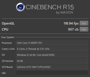 Lenovo T530 CINEBENCH Core i9-9400F GTX1660Ti