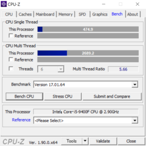 Lenovo T530 CPUZ Core i9-9400F スコア