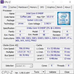Lenovo T530 CPUZ Core i9-9400F