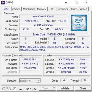 DAIV 3N,CPUZ,Core i7-8709G