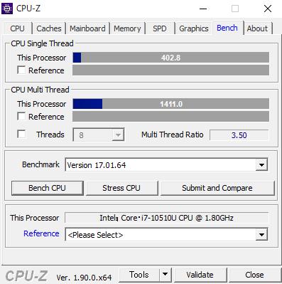DAIV 4N CPUZ Core i7-10510U ベンチスコア