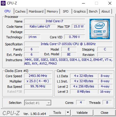 DAIV 4N CPUZ Core i7-10510U 1