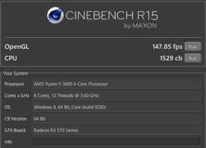 CINEBENCH Ryzen 5 3600 スコア