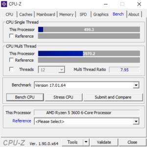 CPUZ Ryzen 5 3600 スコア
