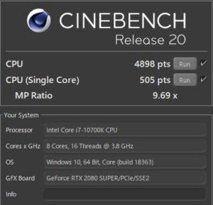 Core i7-10700K,RTX2080S,性能,R20