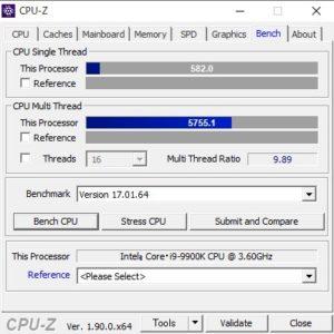 DAIV Z9,Core i9-9900K,スコア,CPUZ