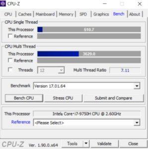 G-Tune P5,CPU,Core i7-9750H,スコア,性能,CPUZ