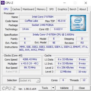 G-Tune P5,CPU,Core i7-9750H,スコア,性能