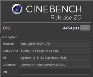 DAIV Z9,Core i9-9900K,スコア,RTX2080S,CINEBENCH20