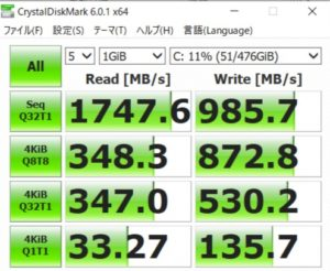 GALLERIA GCR1660TGF-QC,ドスパラ,SSD
