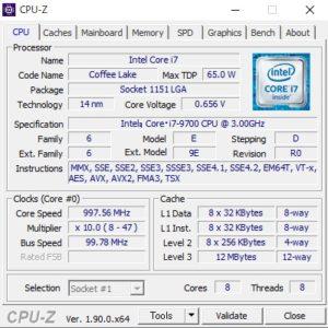 GALLERIA XT,ガレリアXT,Core i7-9700,CPU