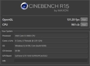 DAIV Z5,グラボ,GeForce GTX1650 SUPER,CINEBENCH,ベンチ