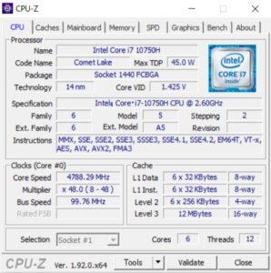 Core i7-10750H,CPUZ,GALLERIA GCL2060RGF-T,CPU