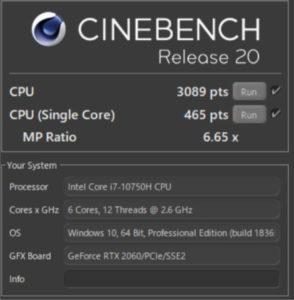 R20,Core i7-10750H,RTX2060,ベンチ,