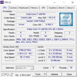 DAIV 5N,CPUZ,Core i7-10875H,,性能