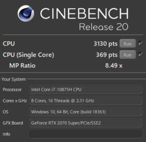 Core i7-10875H,R20,CPU,RTX2070S