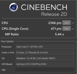 DAIV 5P,Core i7-10750H,性能,ベンチ,R20