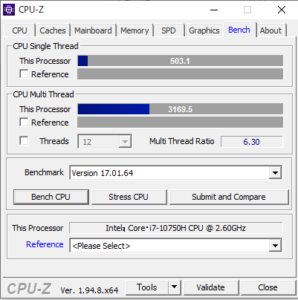DAIV 5P,Core i7-10750H,CPUZ,性能,ベンチ