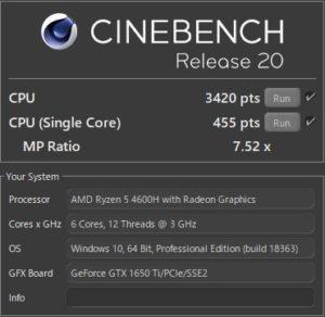 GALLERIA GR1650TGF-T,CPU,Ryzen 5 4600H,R20