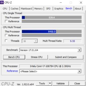 ドスパラ,raytrek R5,Core i7-10875H,CPUZ