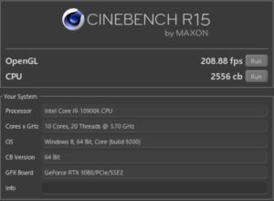 G-Tune EP-Z,Core i9-10900K,R15,RTX3070