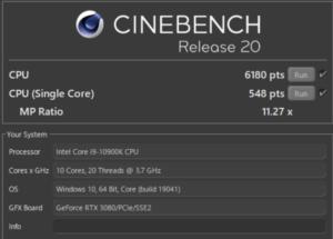 G-Tune EP-Z,Core i9-10900K,R20
