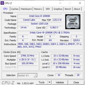 G-Tune EP-Z,Core i9-10900K,性能,CPUZ