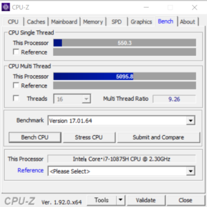 GALLERIA GCL2060RGF-T,CPU,性能,Core i7-10875H