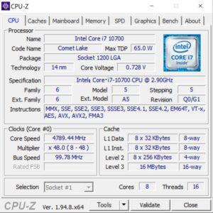 GALLERIA XA7C-R38,Core i7-10700,性能,ベンチ,CPUZ