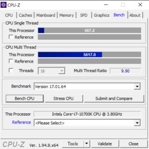 Core i7-10700K,CPUZ,G-Tune XM-Z,ベンチマーク