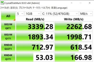 GALLERIA XA7C-R38,SSD,転送速度,実測値