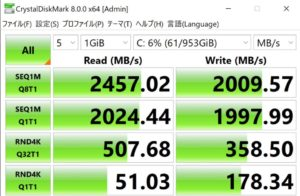 DAIV 7N,SSD,転送速度,