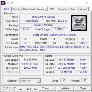 raytrek ZF,ドスパラ,CPUZ,Core i9-10900K,,性能