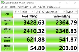 ドスパラ,GALLERIA XA7R-R36,CPUZ,SSD,転送速度,実測