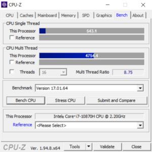 G-Tune H5,Core i7-10870H,CPU性能,ベンチ,