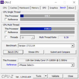 DAIV 5N,Core i7-11800H,CPU性能,比較,ベンチマーク,おすすめ,CPUZ